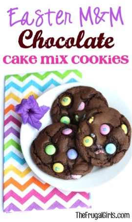 Easter M&M Chocolate Cake Mix Cookies Recipe