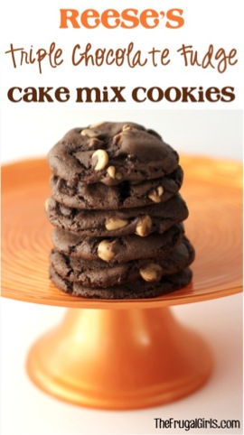 Reese's Triple Chocolate Fudge Cake Mix Cookies