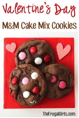 Valentine's Day M&M Cake Mix Cookies