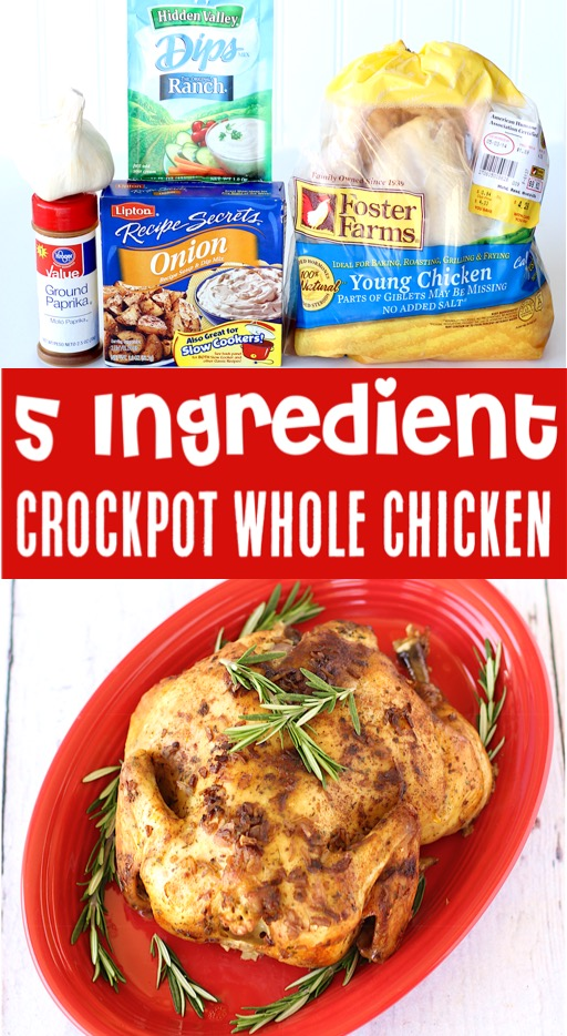 Crockpot Chicken Recipes - Easy 5 Ingredient Whole Chicken Recipe