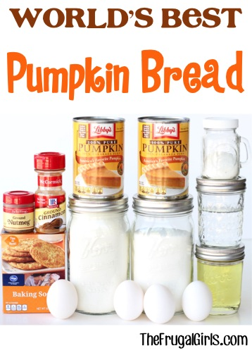 World's Best Pumpkin Bread Recipe - from TheFrugalGirls.com