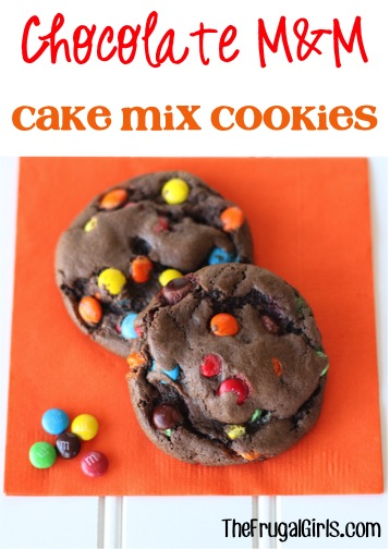 Chocolate M&M Cake Mix Cookie Recipe from TheFrugalGirls.com