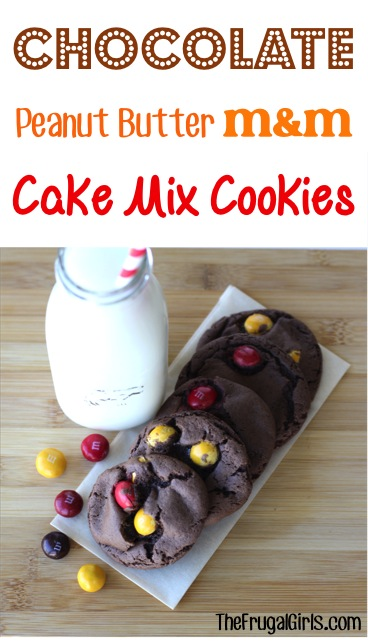 Chocolate Peanut Butter M&M Cake Mix Cookie Recipe from TheFrugalGirls.comjpg