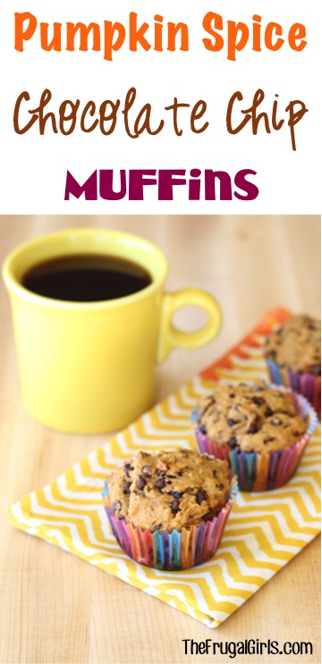 Pumpkin Spice Chocolate Chip Muffin Recipe at TheFrugalGirls.com