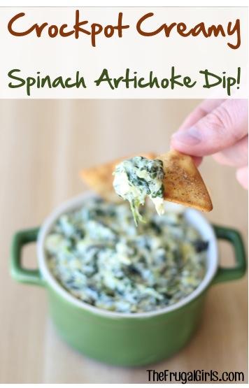Crockpot Spinach Artichoke Dip Recipe from TheFrugalGirls.com