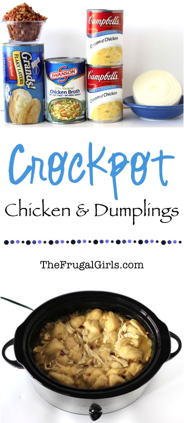 Crock Pot Chicken and Dumplings - at TheFrugalGirls.com