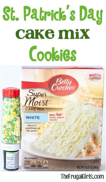 St. Patricks Day Cake Mix Cookie Recipe at TheFrugalGirls.com