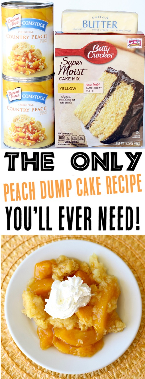 Peach Dump Cake Recipes | Easy Crockpot Peach Cobbler Recipe with 3 Ingredients