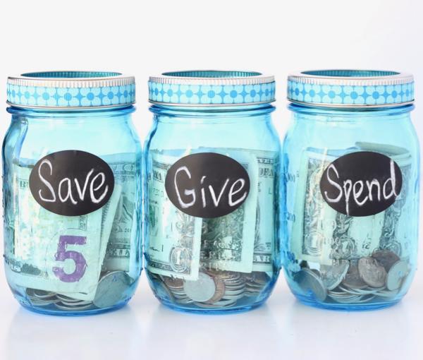 Save Give Spend Mason Jars