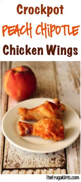 Crockpot Peach Chipotle Chicken Wings