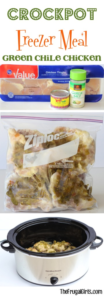 Freezer Crockpot Chicken Meal - Green Chile Chicken from TheFrugalGirls.com