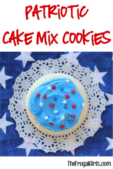 Patriotic Cake Mix Cookies Recipe from TheFrugalGirls.com