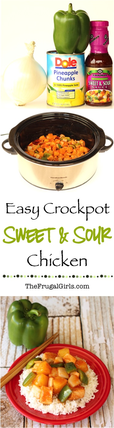 Easy Crockpot Sweet and Sour Chicken Recipe - from TheFrugalGirls.com