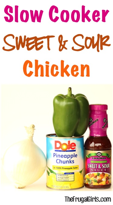 Easy Slow Cooker Sweet and Sour Chicken Recipe from TheFrugalGirls.com