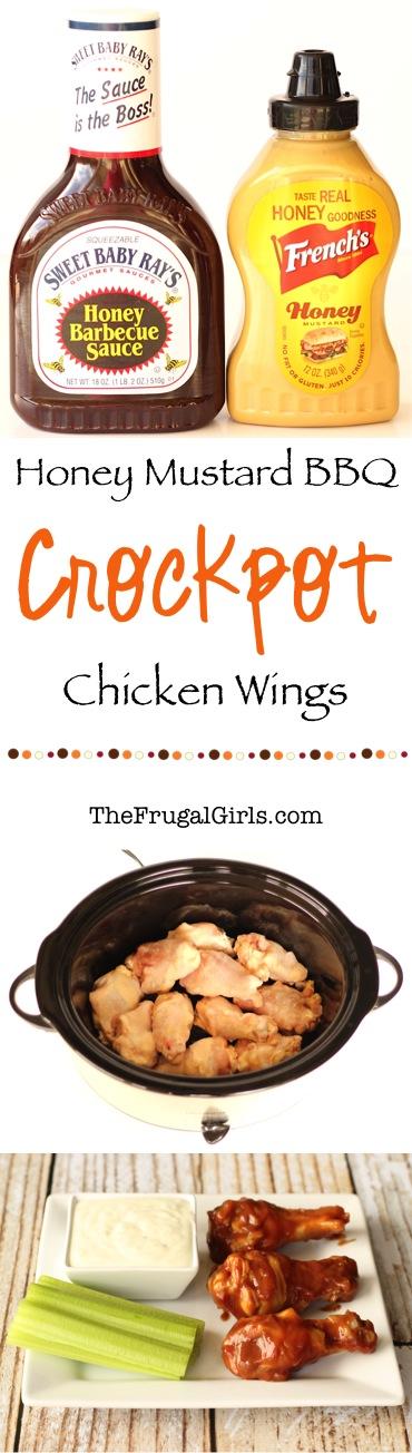 Crockpot Honey Mustard BBQ Chicken Wings Recipe from TheFrugalGirls.com