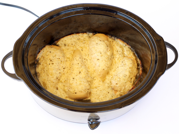 Crock Pot Garlic Parmesan Chicken Recipe Easy from TheFrugalGirls.com