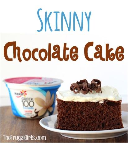Skinny Chocolate Cake Recipe with Greek Yogurt from TheFrugalGirls.com