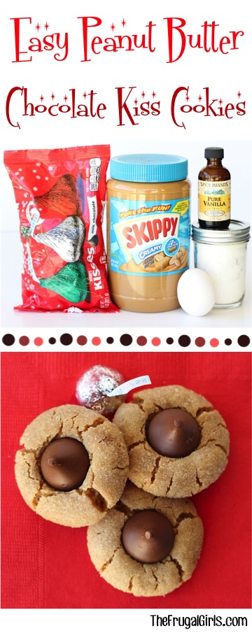 Easy Peanut Butter Kiss Cookies Recipe from TheFrugalGirls.com