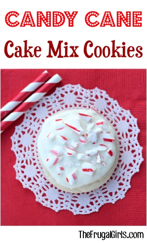 Candy Cane Cake Mix Cookie Recipe from TheFrugalGirls.com