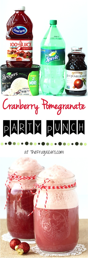 Cranberry Pomegranate Punch Recipe from TheFrugalGirls.com