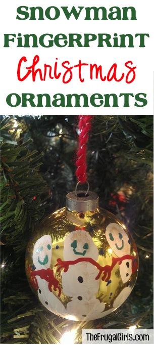 Snowman Fingerpint Ornaments from TheFrugalGirls.com