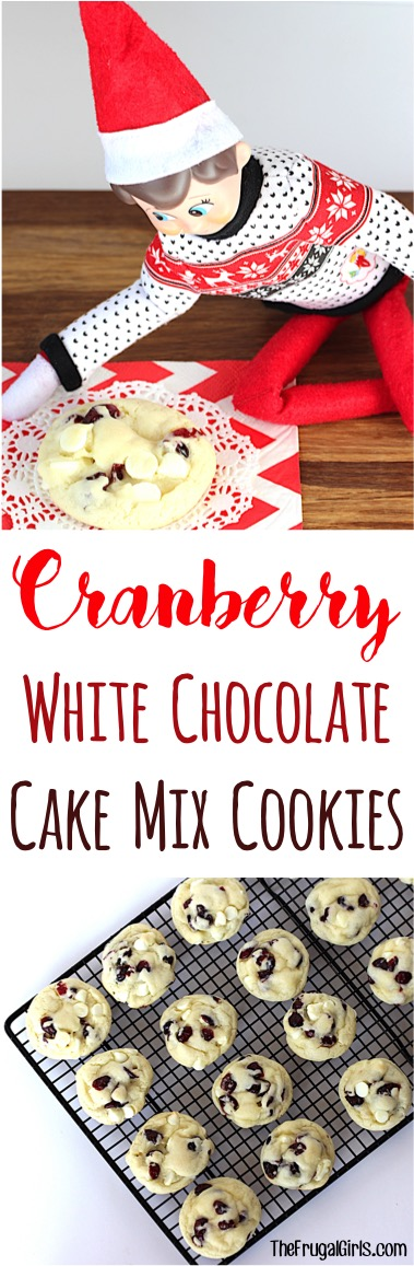 White Chocolate Cranberry Cake Mix Cookie Recipe from TheFrugalGirls.com
