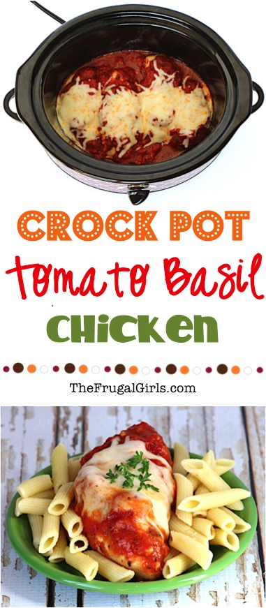 Crockpot Tomato Basil Chicken Recipe from TheFrugalGirls.com