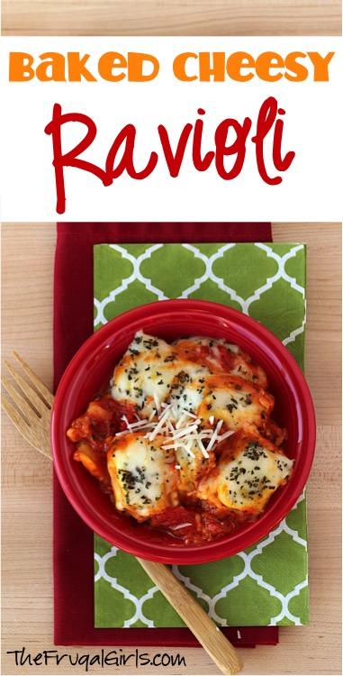 Baked Cheese Ravioli Recipe - at TheFrugalGirls.com