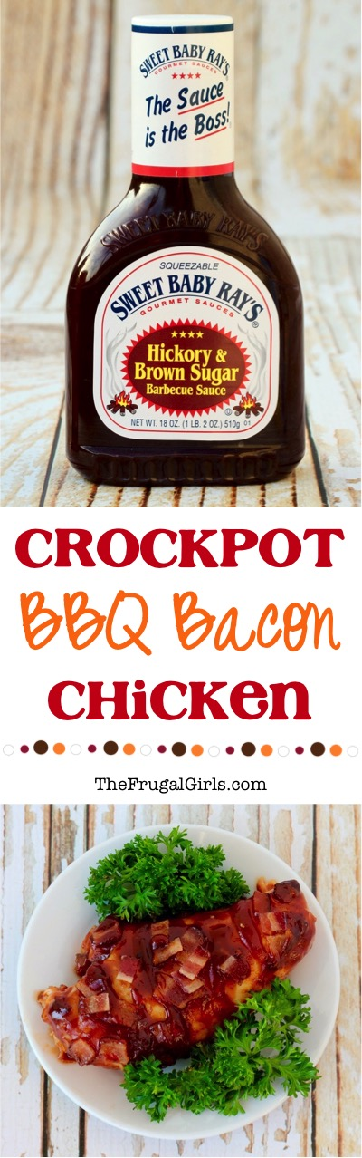 Crockpot BBQ Bacon Chicken Recipe - at TheFrugalGirls.com