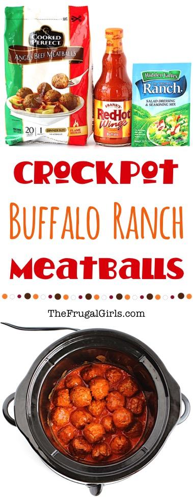 Crockpot Buffalo Ranch Meatballs Recipe from TheFrugalGirls.com
