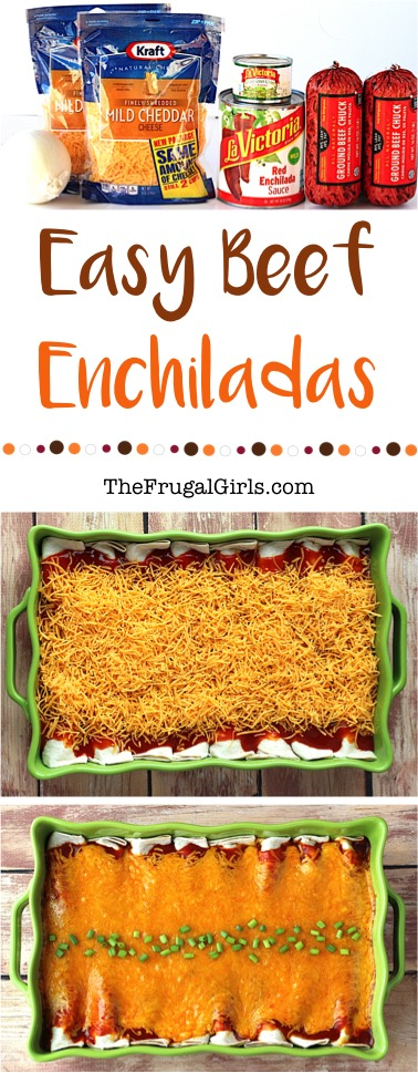 Easy Beef Enchiladas Recipe from TheFrugalGirls.com