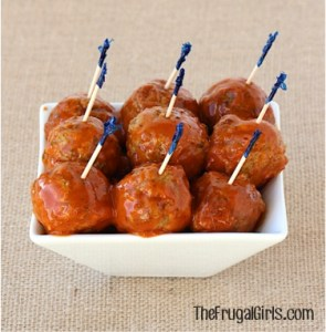 Crockpot Buffalo Ranch Meatballs Recipe from TheFrugalGirls.com