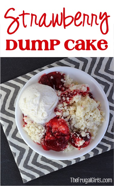 Strawberry Dump Cake Recipe - at TheFrugalGirls.com