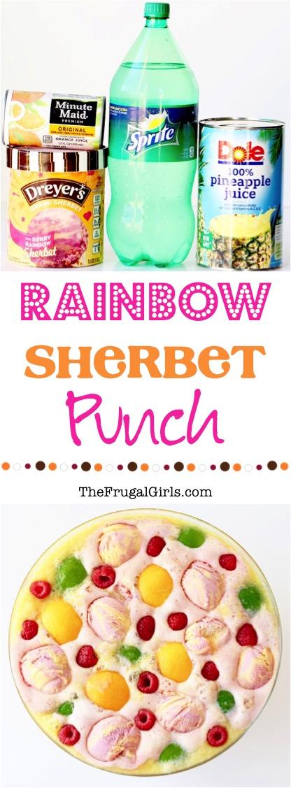 Rainbow Sherbet Punch Recipe at TheFrugalGirls.com