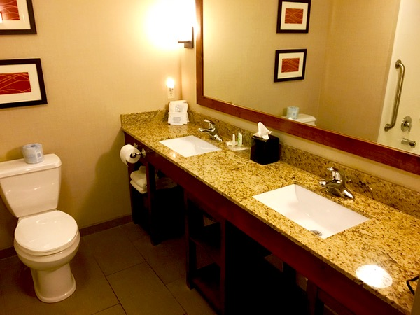 Comfort Suites Luxury Bathroom - TheFrugalGirls.com