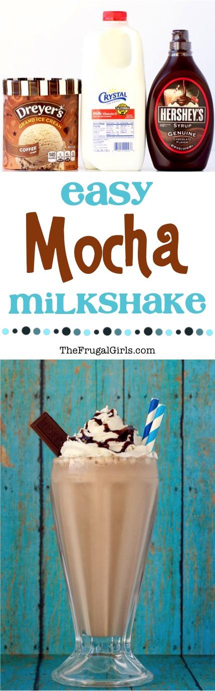Easy Mocha Milkshake Recipe from TheFrugalGirls.com