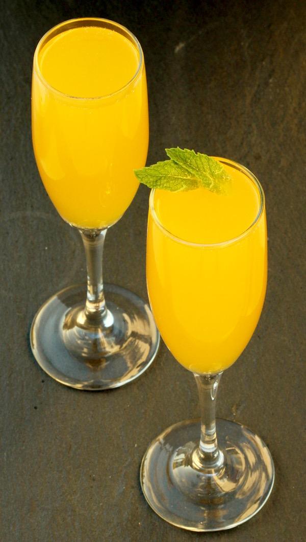 Mango Peach Bellini Mocktail Recipe from TheFrugalGirls.com