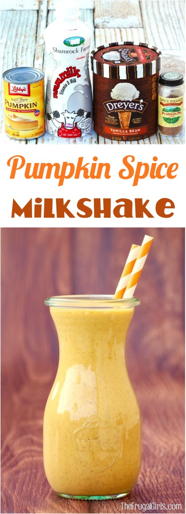 Pumpkin Spice Milkshake Recipe | at TheFrugalGirls.com