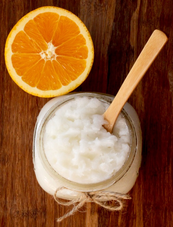 DIY Orange Sugar Scrub Recipe - Creamsicle Swirl - from TheFrugalGirls.com