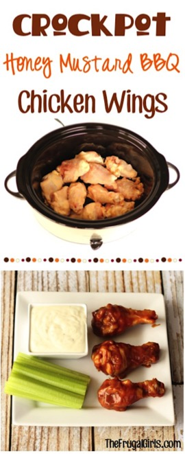Crockpot Honey Mustard BBQ Chicken Wings