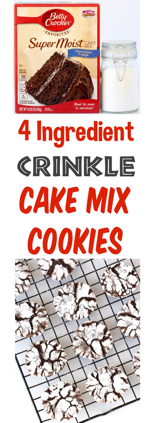 Chocolate Cake Mix Cookies Easy Crinkle Cookie Recipe