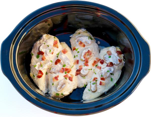 Slow Cooker Alfredo Chicken Bacon Recipe from TheFrugalGirls.com