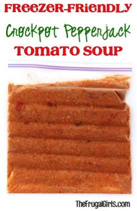 Freezer-Friendly Crockpot Pepper Jack Tomato Soup Recipe from TheFrugalGirls.com
