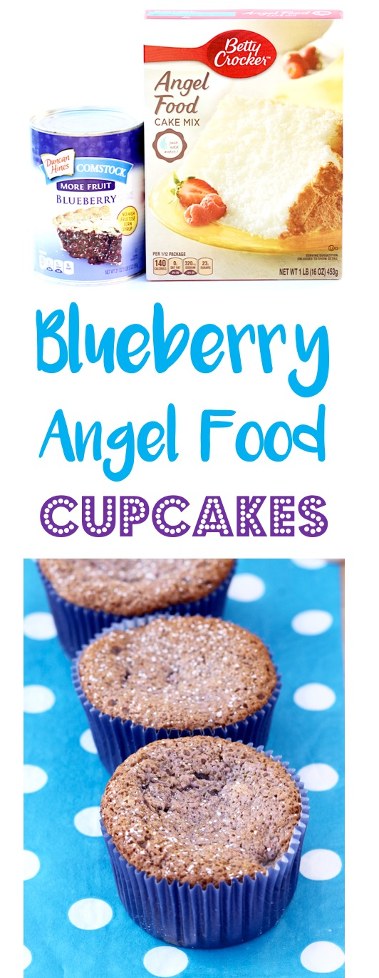 Blueberry Angel Food Cupcake Recipe - from TheFrugalGirls.com