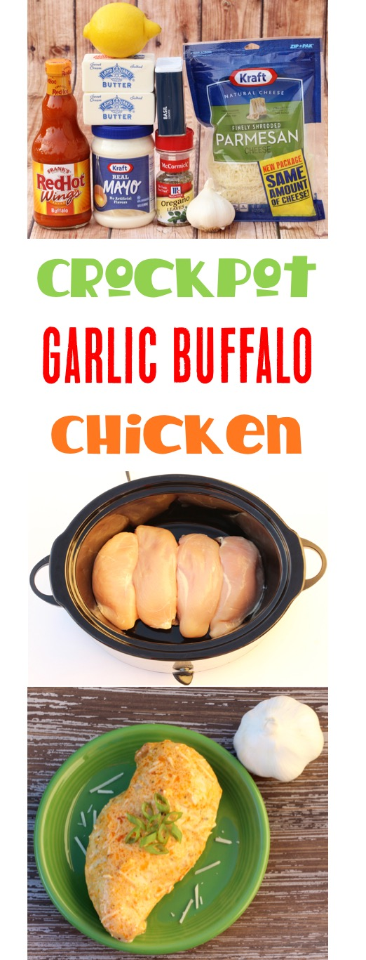 Crockpot Garlic Buffalo Chicken Recipe from TheFrugalGirls.com