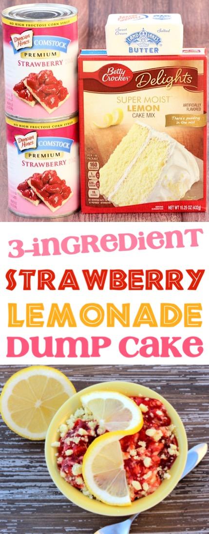 Strawberry Lemonade Cake Easy Recipe Simple 3 Ingredients