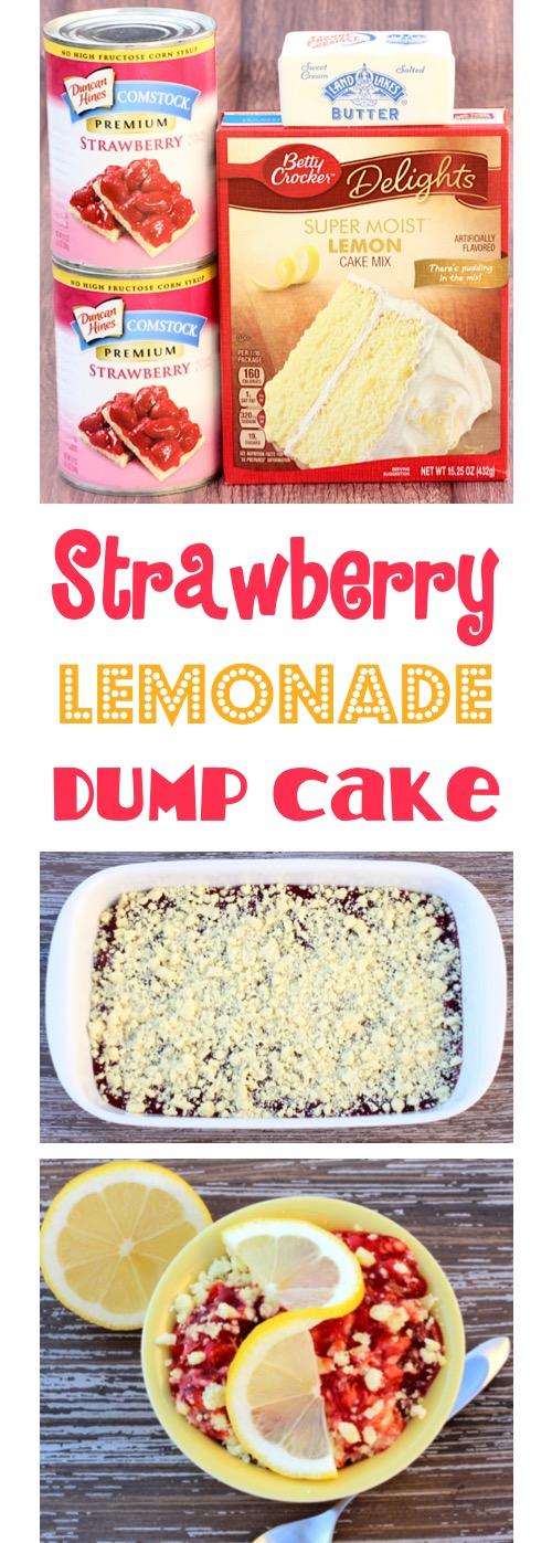 Strawberry Lemonade Dump Cake Recipe at TheFrugalGirls.com