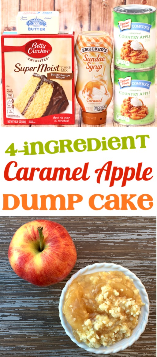 Apple Dump Cake with Pie Filling - Easy Caramel Apple Dump Cake Recipe - Simple and SO delicious