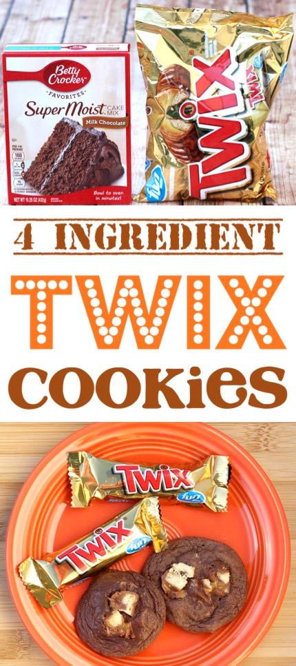 Chocolate Cookies Recipes Easy Twix Cake Mix Cookie Recipe 4 Ingredients