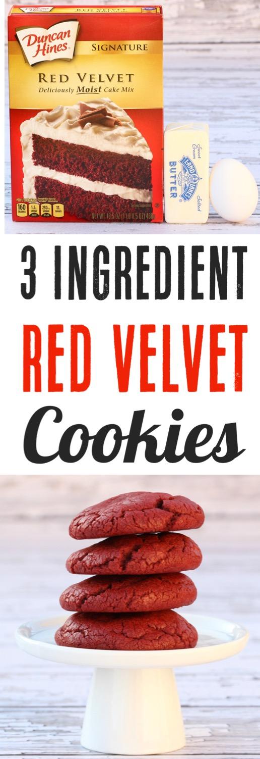 Red Velvet Cake Mix Cookies Recipe Easy Christmas Cookie